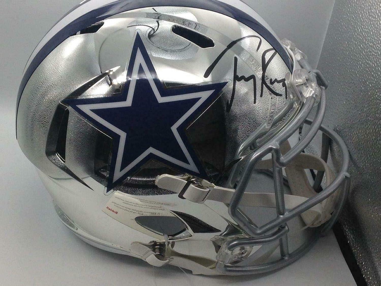 Tony ROMO Autographed Helmet  Full Size Chrome Beckett Holo Coa  Beckett Authentication  Autographed NFL Helmets