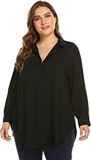 IN'VOLAND Womens Loose Shirt V Neck Long Sleeves Plus Size Blouse Causal Tops