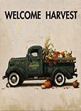 Selmad Fall Welcome Harvest Garden Flag Pumpkin Old Farm Truck Double Sided Quote, Small Burlap Decorative House Yard Decoration, Autumn Farmhouse Country Seasonal Home Outdoor Vintage Décor 12 x 18