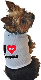 Ruff Ruff and Meow Dog Tank Top, I Love My Grandma, White, Small