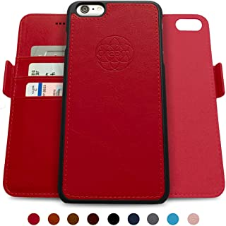 Dreem Fibonacci 2-in-1 Wallet-Case for iPhone 6-Plus & 6s-Plus, Magnetic Detachable Shock-Proof TPU Slim-Case, RFID Protection, 2-Way Stand, Luxury Vegan Leather, Gift-Box - Red