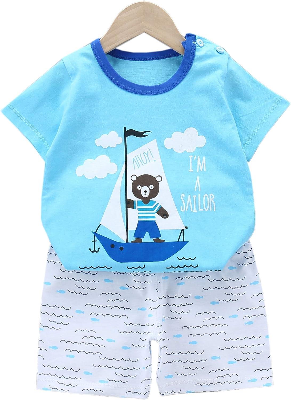 Jsmiten Kids Boys Girls 2 Pieces Shorts Set Unisex Baby Summer Clothes Set