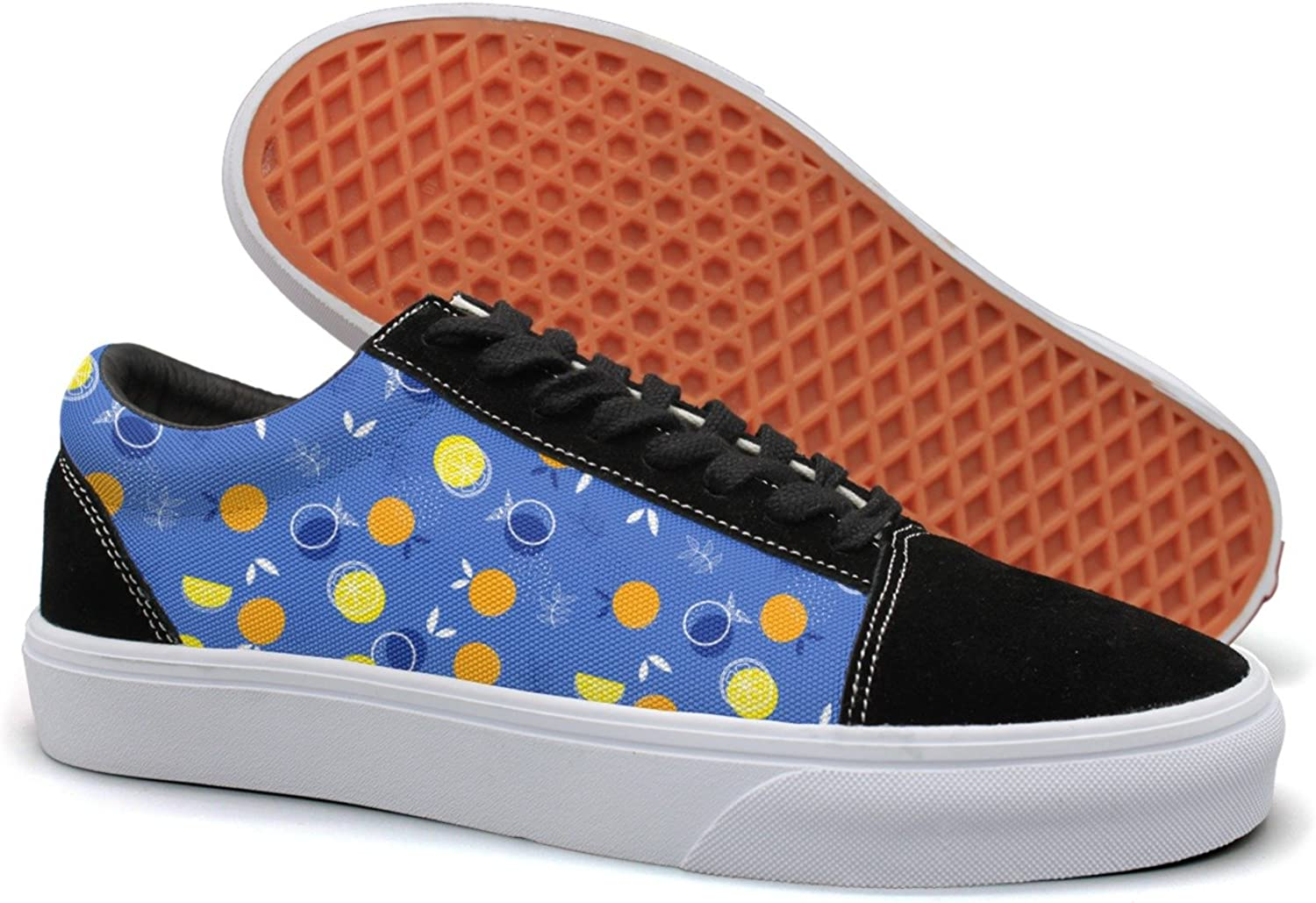 Feenfling Abstract Fruit Lemon Nutrition Womens Casual Suede Canvas Boat shoes Low Top Athletic Sneakers
