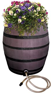 Emsco Group 2243-1 Rescue 50 Gallon Flatback Whiskey Rain Barell, Brown with Painted Bands