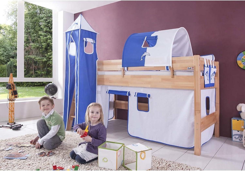 Relita Halbhohes Spielbett Kelila mit 3 tlg. Stoff-Set wei blau, Buche massiv natur lackiert