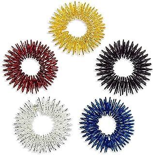 Healifty 5 stks Acupressuur Massage Ringen Vinger Circulatie Ringen voor Kinderen Tieners Volwassenen (Verschillende kleuren)