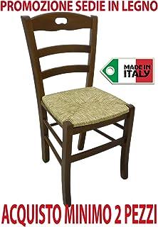 Silla rústica de madera maciza, color nogal, para casa o restaurante, con asiento de anea
