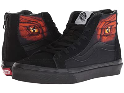 Vans Kids Sk8-Hi Zip (Little Kid/Big Kid) ((Dragon Flame) Black/Black) Boys Shoes