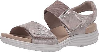 Aravon Women's Beaumont Two Strap Flat Sandal, Metallic, 6
