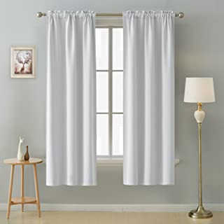 Deconovo Thermal Insulated Blackout Curtains Room Darkening Rod Pocket Curtain Panels for Living Room 38 Inch by 72 Inch Off White Set of 2