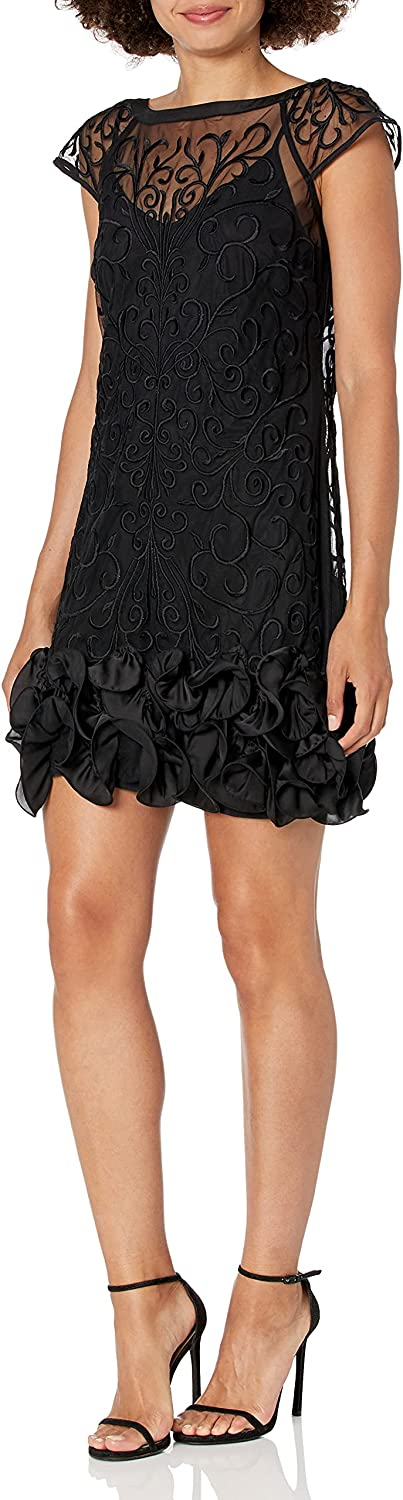 GUESS Short Sleeve Cocktail Dress with Lace Overlay