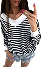 ZOMUSAR Fashion Women Cold Shoulder Long Sleeve Blouse Batwing Sleeve Pullover Tops Stripe Shirt