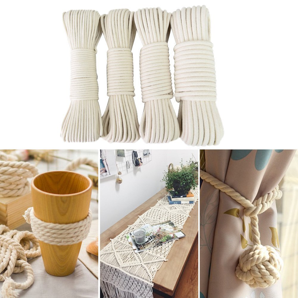 Beige Wall Hangings Plant Hangers Knotting 165 Feet 4Ply Twisted Macrame Cotton Rope for Crafts Tenn Well 6mm Cotton Cord Home Decor
