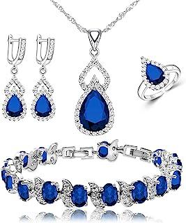 ست طلا و جواهر زنانه LMXXVJ گردنبند حلقه ای گوشواره حلقه دستبند ، تولد/سالگرد هدیه جواهرات روز مادر برای مادر/همسر/خواهر/بهترین دوست (آبی ، قابل تنظیم)