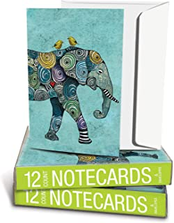 "Tree-Free Greetings Boxed Notes. 100% Recycled Paper, Eco-Friendly Cards, Made in the USA. Elephant and Yellow Birds, 4""x6"". 12 count."