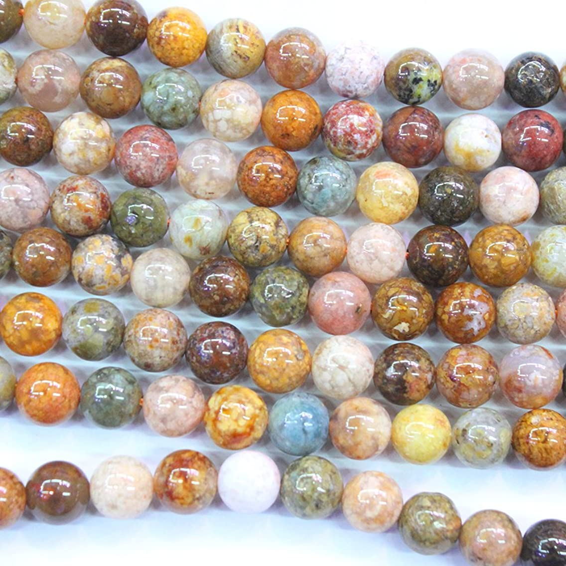Natural Colorful Ocean Agate Round Gemstone Beads Jewerlry Making Findings (8mm)