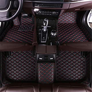 Jiahe for Audi S4 2018 Car Floor Mats Full Covered Advanced Performance Leather Carpet Auto All Weather Protection Front & Rear Liner Set Black red