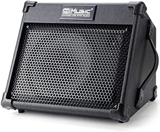 Acoustic Guitar Amplifier, 40 Watt Portable Rechargeable Amp for Guitar Acoustic with Bluetooth, 3 Channel, 2 Band EQ, Black