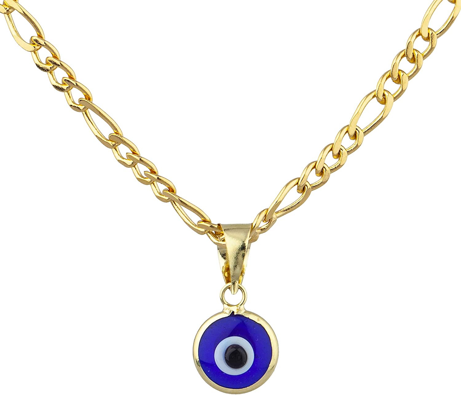 JOTW 14k Yellow Gold Round Evil Eye Charm Pendant Necklace with 18 inch Figaro