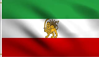 DMSE Old Historic Iran with Lion Crown Post-Constitutional Revolution Flag 3X5 Ft Foot 100% Polyester 100D Flag UV Resistant (3' X 5' Ft Foot)