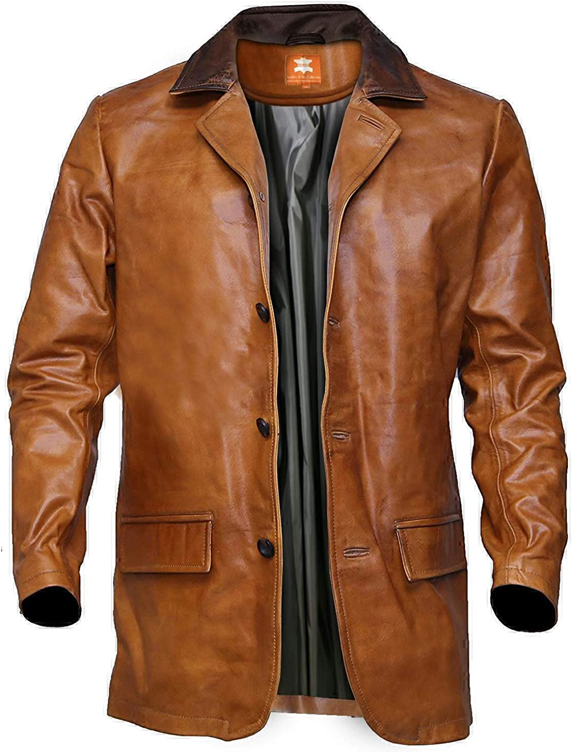 Men's Brown Leather Jacket, Distressed Leather Trench Coat, Hip-height Long Coat, Three Quarter Long Coat