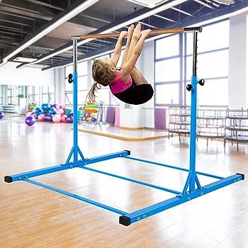 Dai&F Horizontal Gymnastics Bar for Kids,Height Adjustable Junior Training Bar,Kip Bar Ideal for Gymnasts 1-4 Levels, 300 lbs Weight Capacity