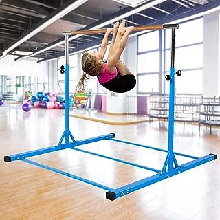 Dai&F Horizontal Gymnastics Bar for Kids,Height Adjustable Junior Training Bar,Kip Bar Ideal for Gymnasts 1-4 Levels, 300 lbs Weight Capacity(Pink/Blue)