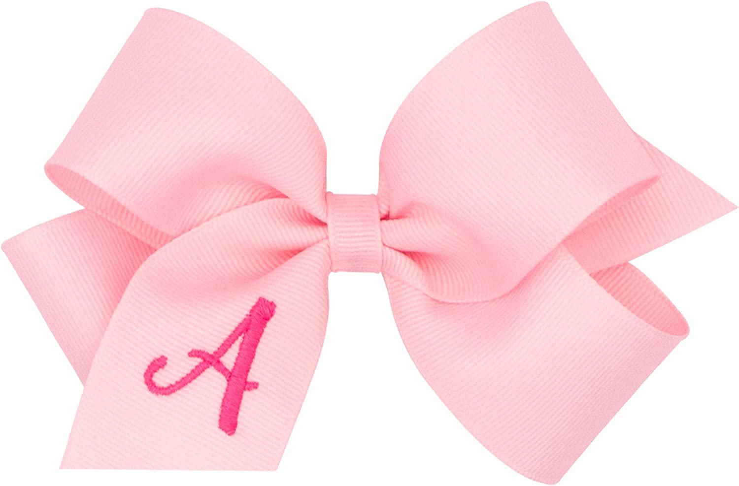 Wee Ones Medium Light Pink Grosgrain Bow with Hot Pink Initial (Letter R)