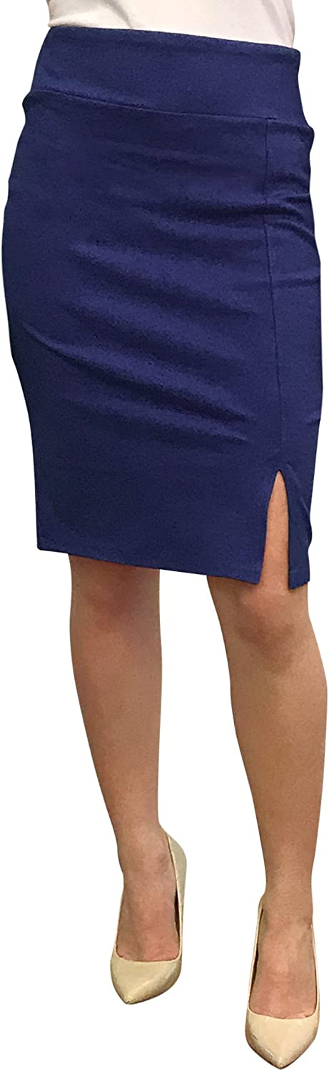 OrlyCollection Womens Stretchy Pencil Skirt for Office Wear Slit Hem Bodycon Pencil Skirt Made USA