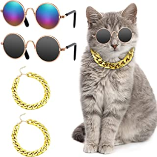 Pet Cosplay Prop, DELFINO 2 Pieces Funny Cute Pet Dog Cat Costume Sunglasses Eye-wear and 2 Pieces Cool Faux Gold Chain Co...
