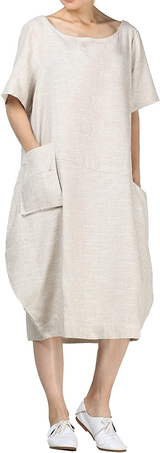 Mordenmiss Women's Cotton Linen Dresses Short Sleeve Baggy Loose Summer Clothing w/Hi-Low Pockets