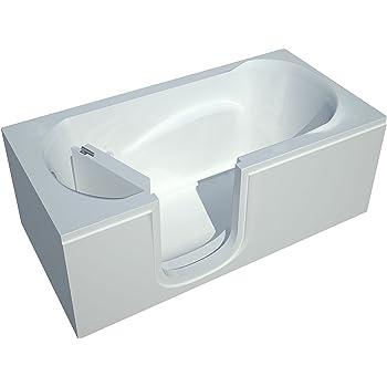Spa World Venzi Vz3060silws Rectangular Soaking Walk-In Bathtub, 30x60, Left Drain, White