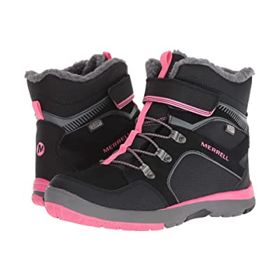 Merrell Kids Moab FST Polar Mid A/C Waterproof (Big Kid) (Black/Pink) Girls Shoes