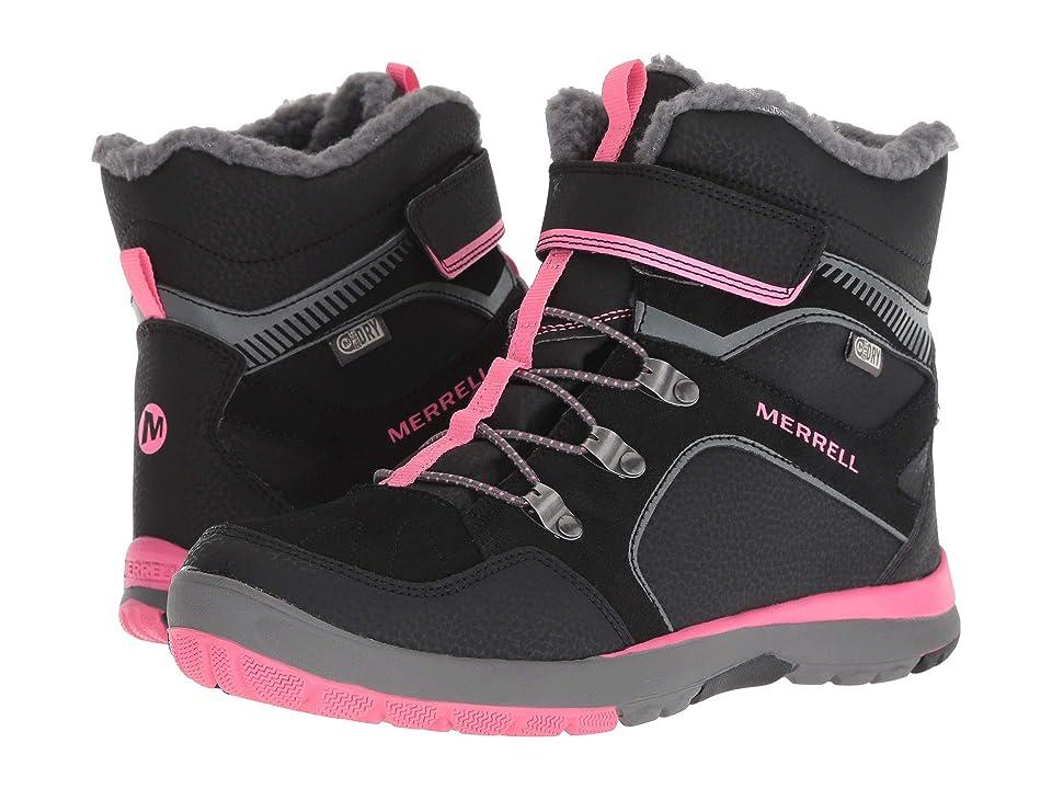 Merrell Kids Moab FST Polar Mid A/C Waterproof (Big Kid) (Black/Pink) Girls Shoes