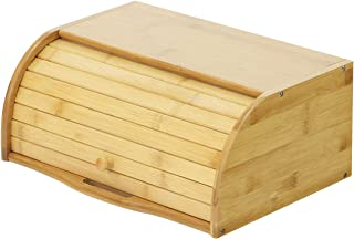 Betwoo Natural Wooden Roll Top Bread Box Kitchen Bamboo Storage Bin (Standard Size Self assembly)