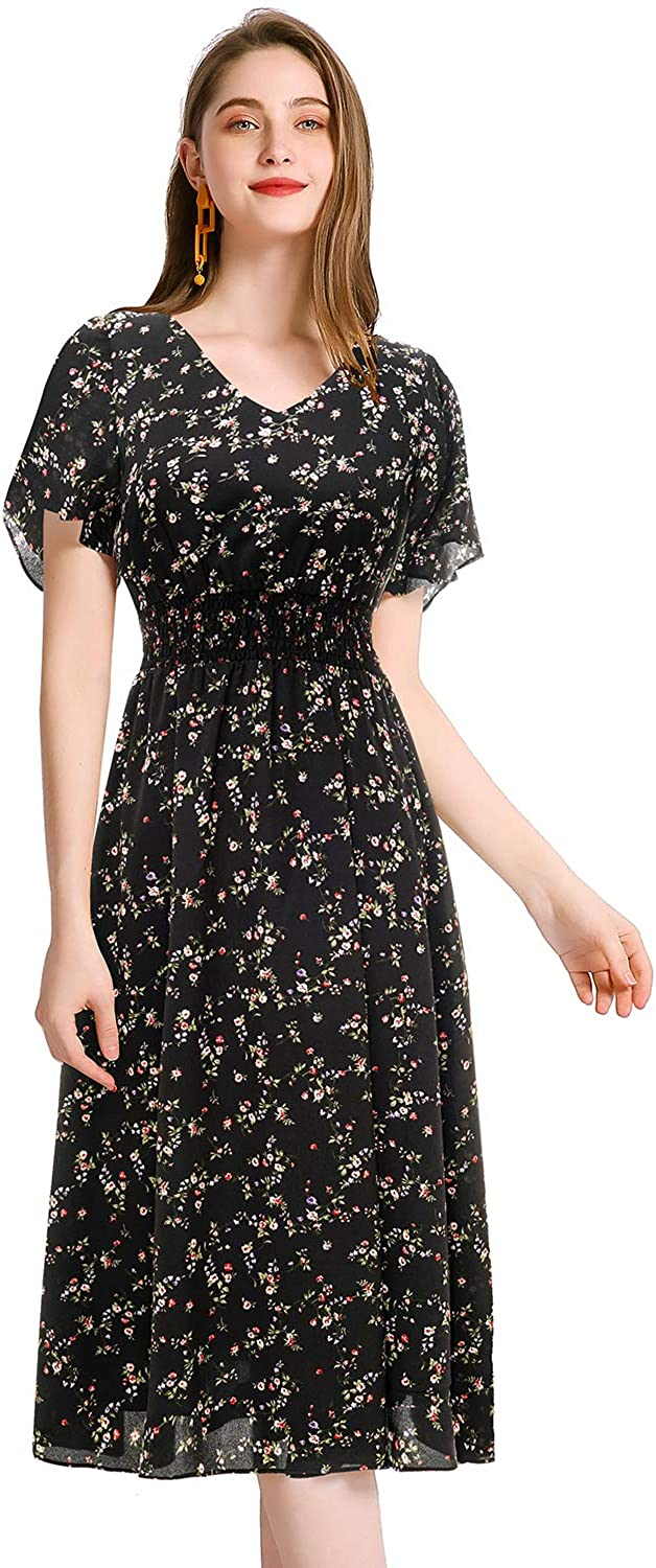 Gardenwed Floral Chiffon Max 60% OFF Dresses for Free shipping anywhere in the nation Cock Homecoming Women Flowy