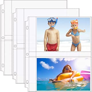 MaxGear 5x7 Photo Sleeves for 3 Ring Binder Archival Photo Pages, Photo Album Pages Clear Photo Sheet Protectors Refill Pages Protector 8.5 x 11, 2 Pockets Per Page, 30 Pack