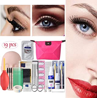 19pcs Eyelash Extension Kits,Professional Mannequin Head Training Eyelashes Extensions Practice Cosmetology Esthetician Supplies with Eye Lash Kit Lashes Glue Tweezers Tools sets for Make