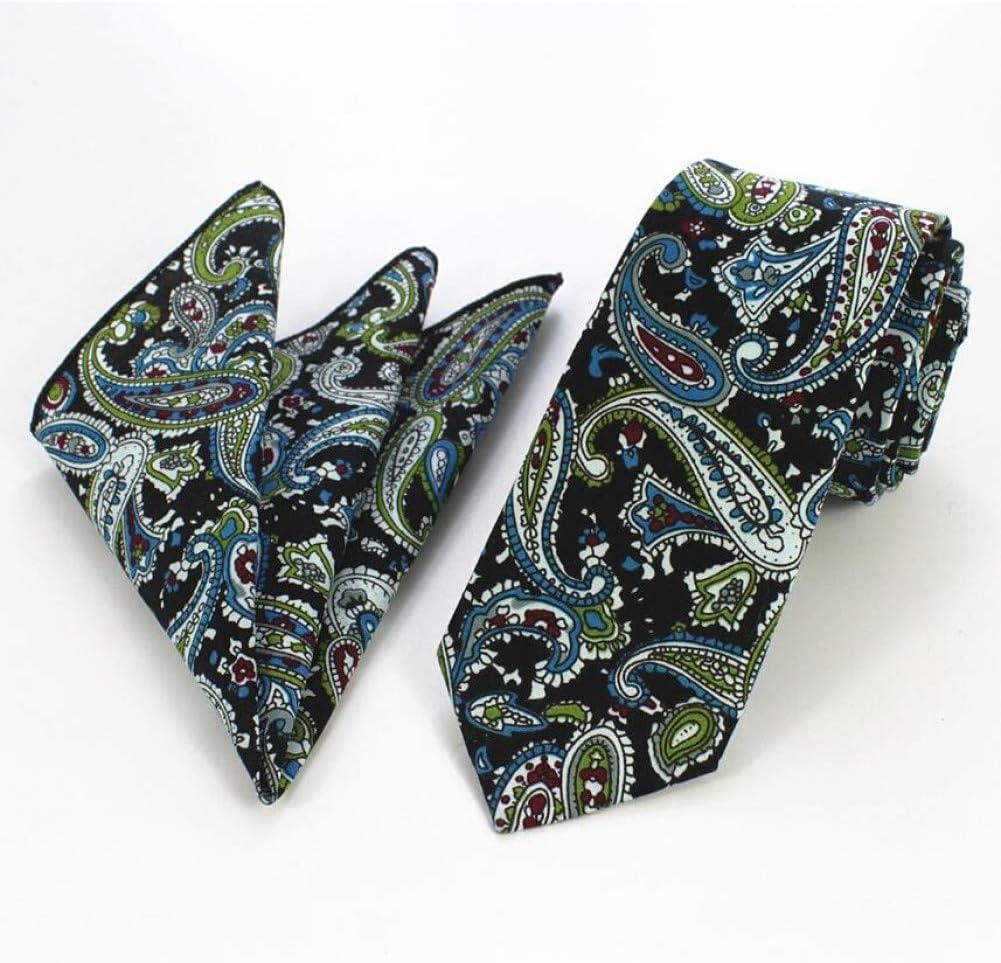 WOXHY Fashion Mens Cotton Tie Set Paisley Print Floral Necktie and Pocket Square Sets Slim Tie for Wedding Handkerchief