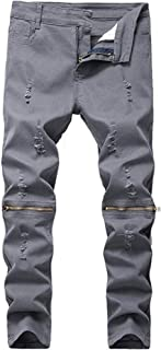 DEITP Boy's Slim Fit Skinny Ripped Distressed Zipper Jeans with Holes