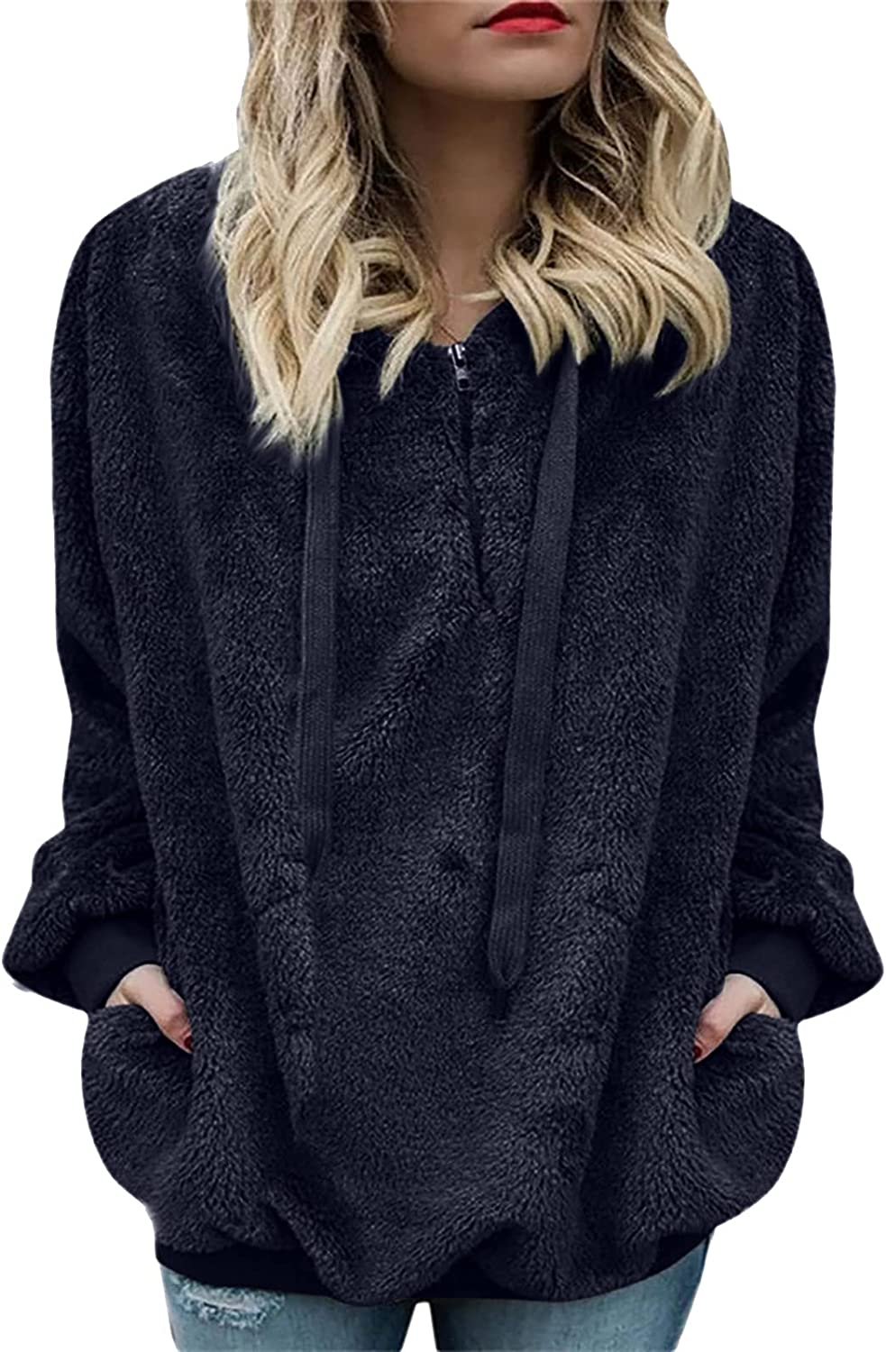 Women Plush Hooded Long Sleeve Solid Pullover Half Zip up Drawstring Sweatshirt Fuzzy Faux Top Casual Loose Shirt