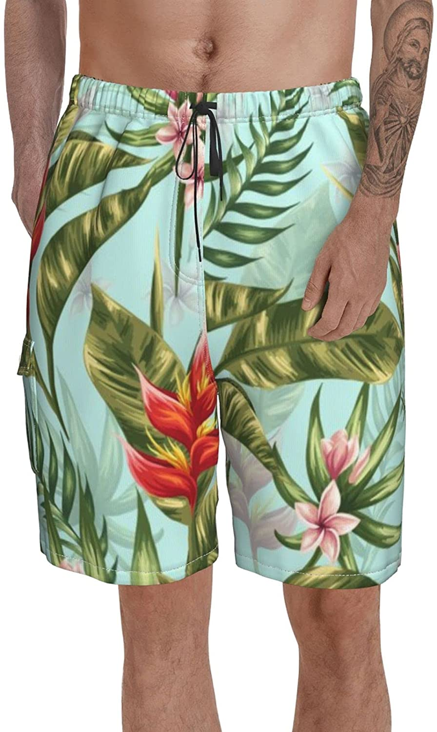 Big and Tall Swim Trunks for Men Stretch Summer Short Tropical Leaves Swimwear Mid Length