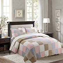 3 Piece Quilted Bedspread Throws Patchwork Quilt Double King Size 100% Cotton Multipurpose Air Conditioner Blankets Bed Co...