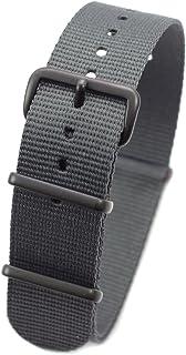ブラックシリーズ NATOタイプ ナイロン ストラップ 20mm グレー 時計ベルト バンド [クロノワールド chronoworld] [簡単キット付]