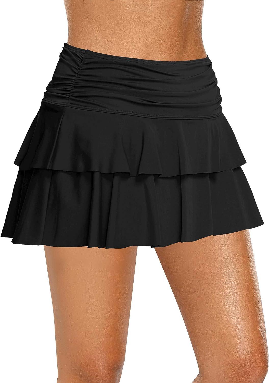 LookbookStore Women Ruffled Skirted Bikini Bottom Mid Waist Swim Skirt Swimsuit