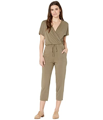 Michael Stars Chelan Cotton Modal Short Sleeve Cropped Jumpsuit (Olive) Women