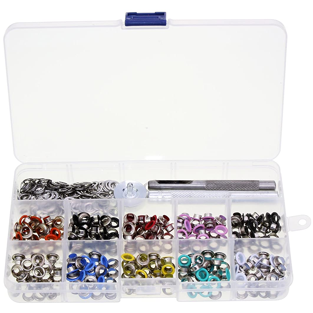OCR 300PCS Grommet Metal Eyelets DIY Fastener Buttons with Tools for Leather Sewing Craft