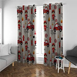 Linhomedecor Fire Truck Large Small Window Curtain Little Boys and Girls in Uniforms Fire Fighters Theme Career Profession Pattern Darkening Noise Reducing Backtab Window Panel Multicolor