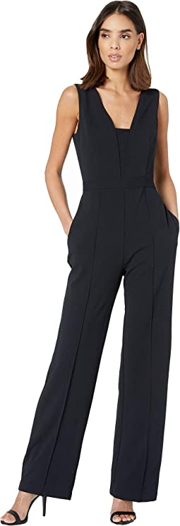 Sleeveless Wide Leg Crepe Jumpsuit