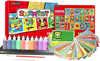 Rainmae Sand Art kit, 26 Packs Sand Painting Pictures Set with 12 Bottles Colored Sand, Drawing Board and Tool for Chidlren Drawing Doodle, Early Education Toys